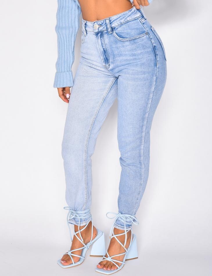 Jeans taille haute bi-color