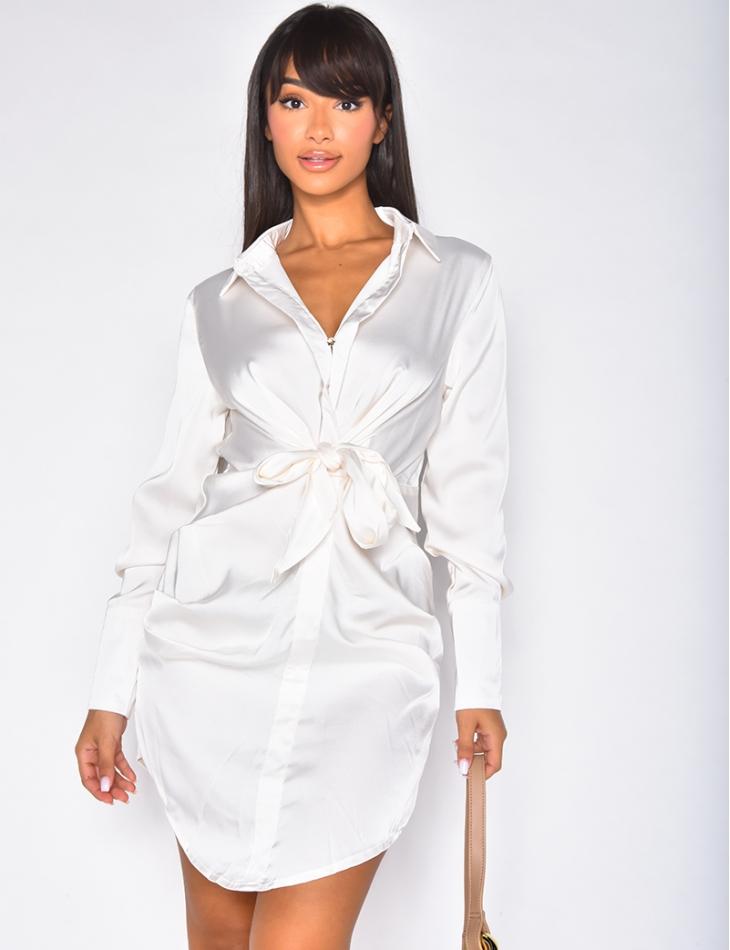 Robe chemise en satin à nouer
