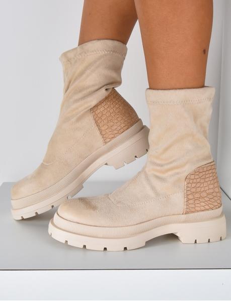 Bottines chaussettes en suédine