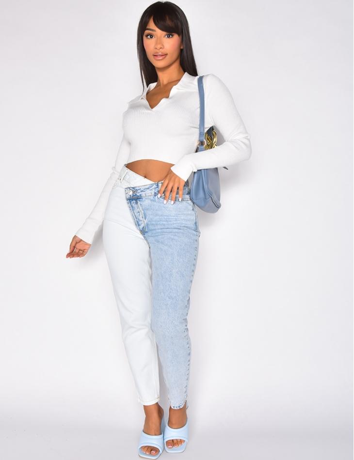 Jeans bi-color à boutonnière croisée