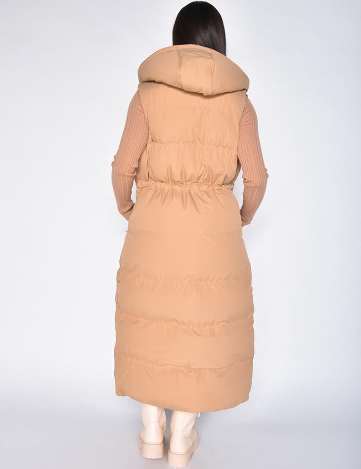 Doudoune longue sans manche à capuche