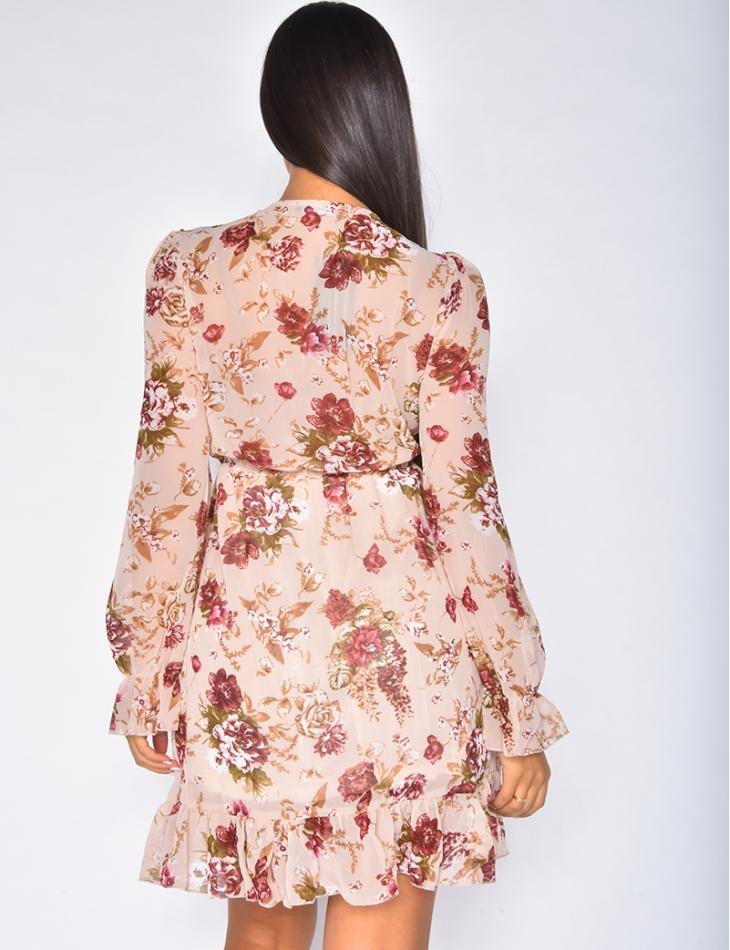 Robe fluide à motif fleur