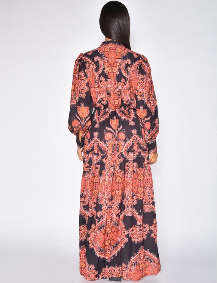 Robe longue imprimée manches longues