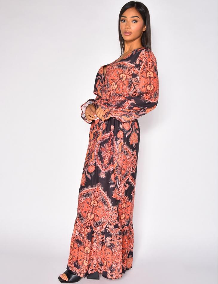 Robe longue ceinturée à motifs