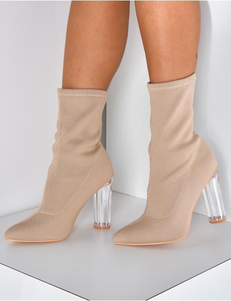 Bottines chaussettes à talons transparents