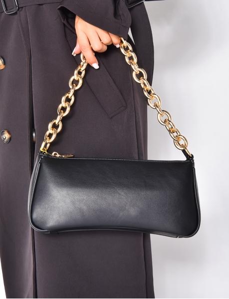 Petit sac à main en simili avec maillons