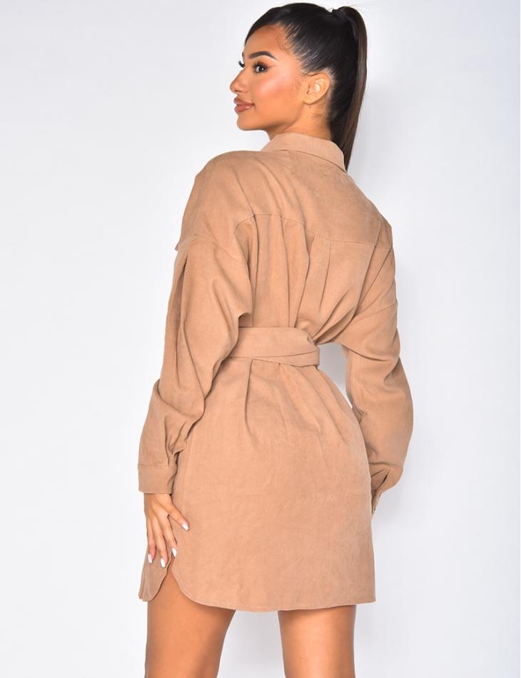 Robe chemise en velours doux à ceinture