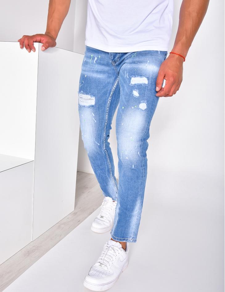 Jeans homme destroy à tâches de peinture