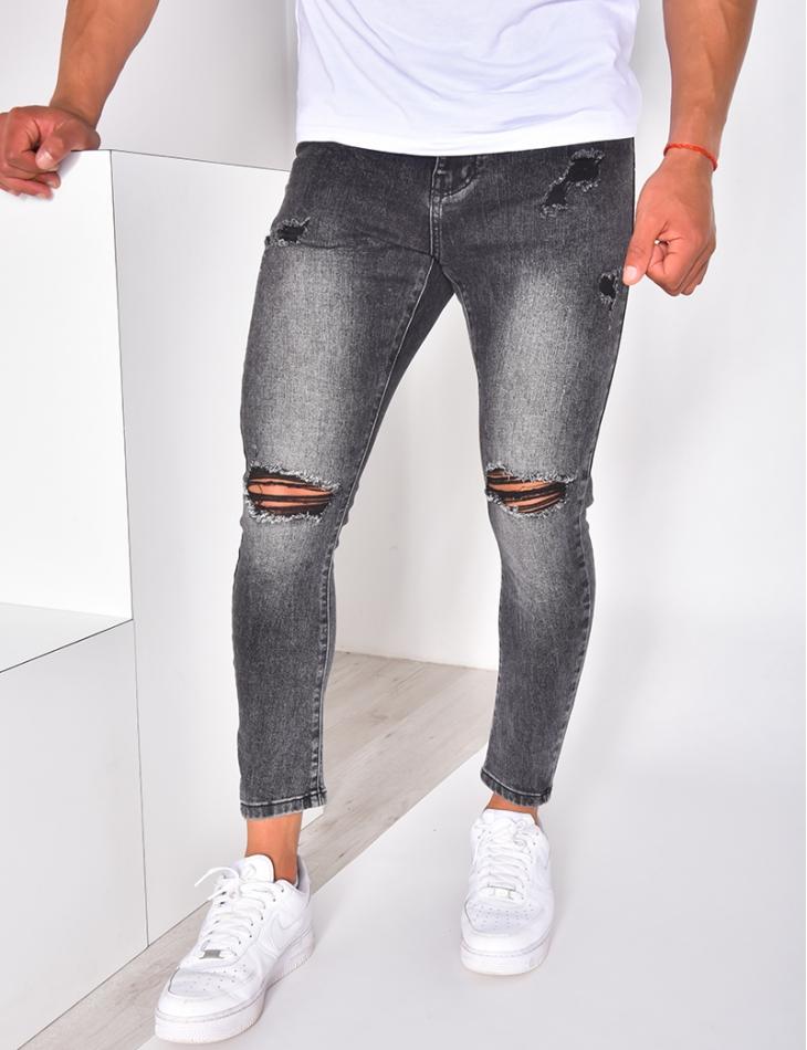 Jeans slim destroy gris foncé