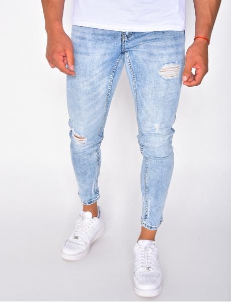 Jeans skinny destroy bleu délavé
