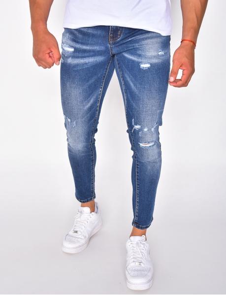 Jeans slim destroy bleu foncé