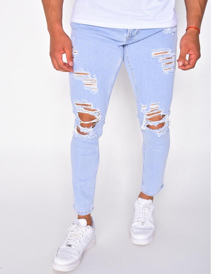 Jeans destroy bleu délavé