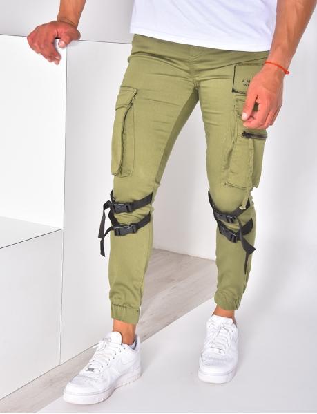 Pantalon cargo à poches et écriture