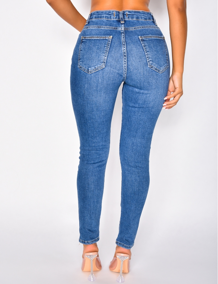 Jeans skinny taille haute délavé