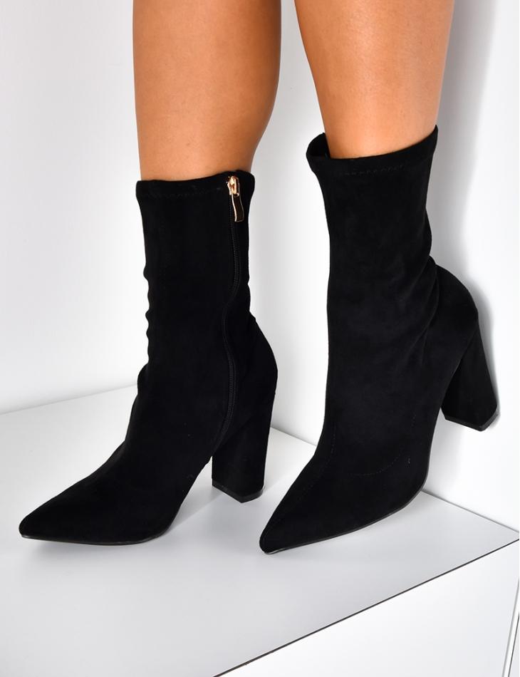 Bottines chaussettes en suédine à talons