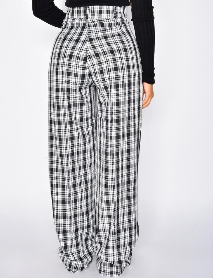 Pantalon à pinces coupe droite à carreaux