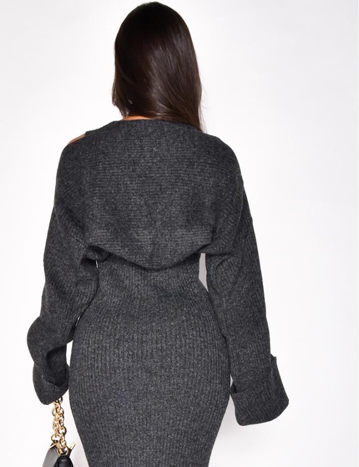 Bolero en laine côtelé