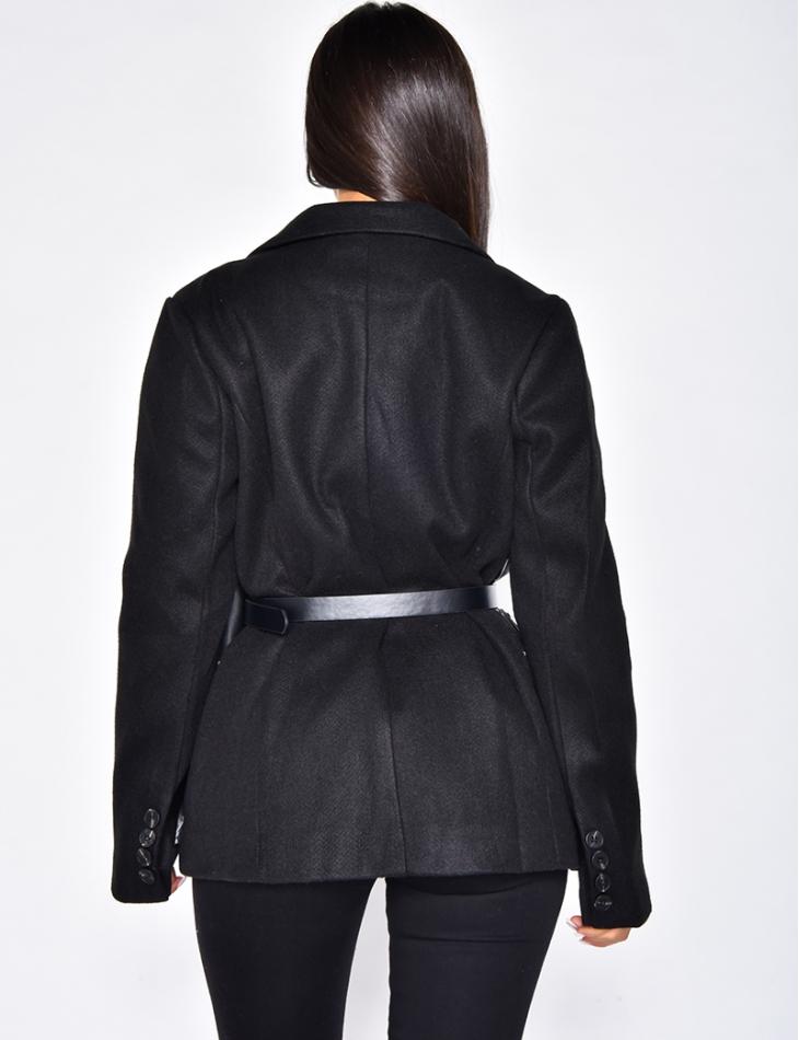 Veste bi-matière avec ceinture pochette