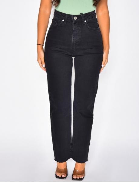 Jeans noir taille haute coupe droite