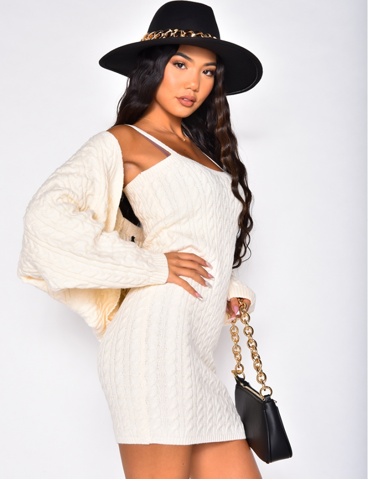 Ensemble robe en laine avec boléro