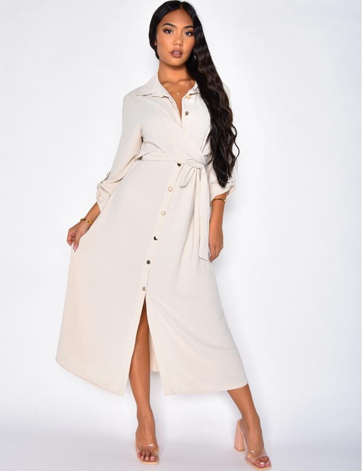 Robe longue à boutonner