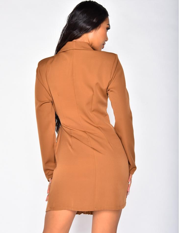 Robe blazer à nouer plissée