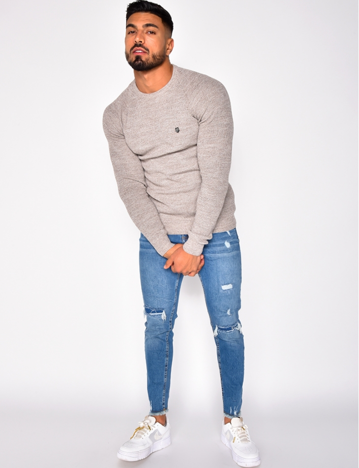 Pull fin col rond