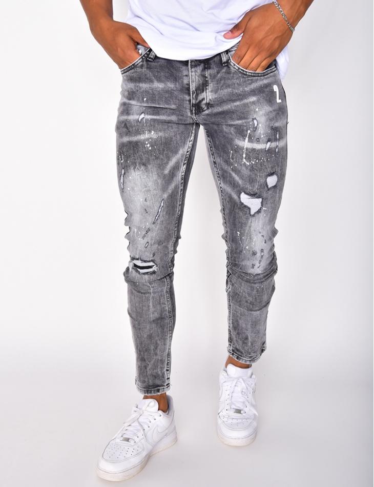 Jeans destroy à tâches , numéro 2