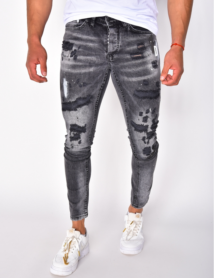 Jeans destroy à tâches