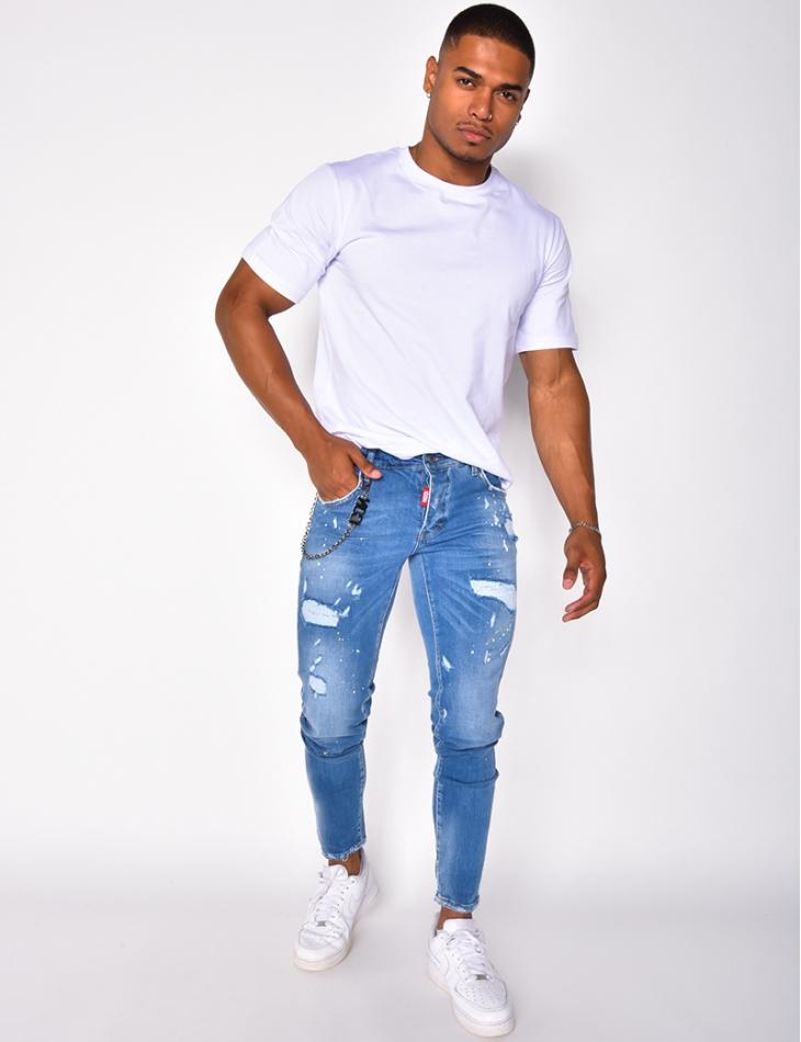Jeans destroy à tâches et chaîne Icon