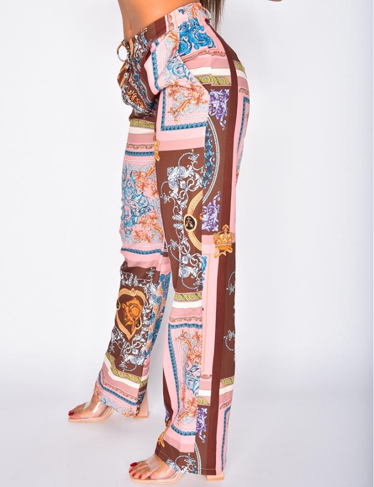 Pantalon coupe droite à motifs baroque