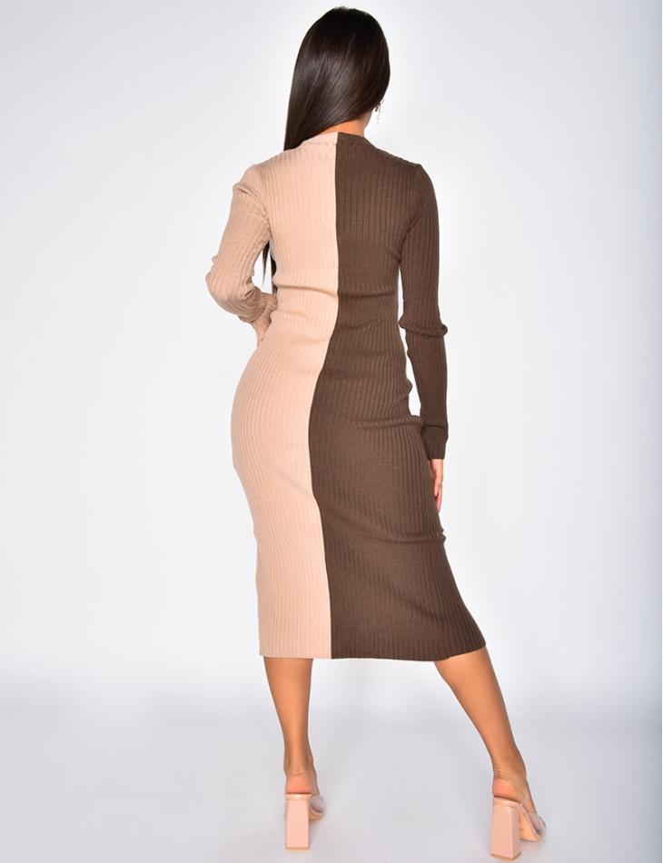 Robe longue côtelé à boutonner bi-color