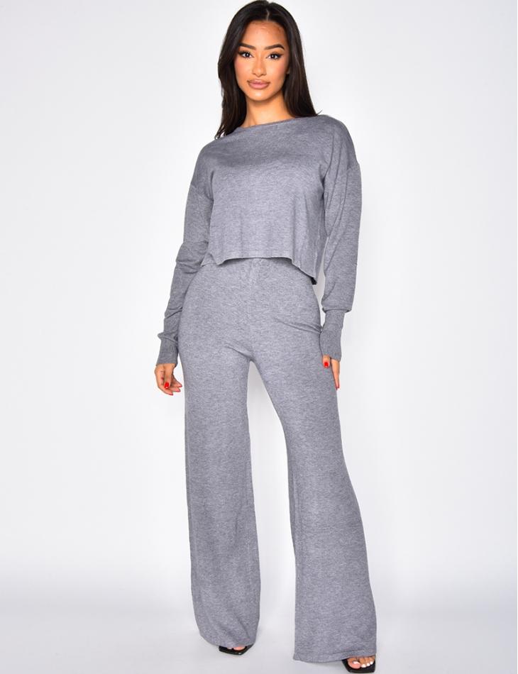 Ensemble pantalon large et pull court