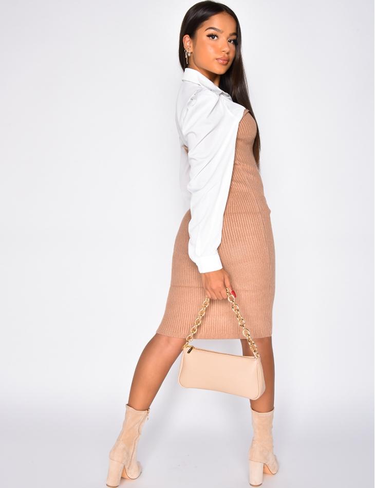 Robe chemise côtelé bi-matière