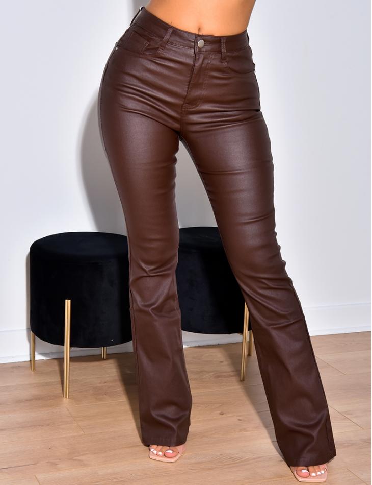 Jeans taille haute huilé patte d'eph