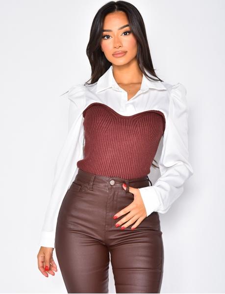 Pull chemise côtelé bi-matière