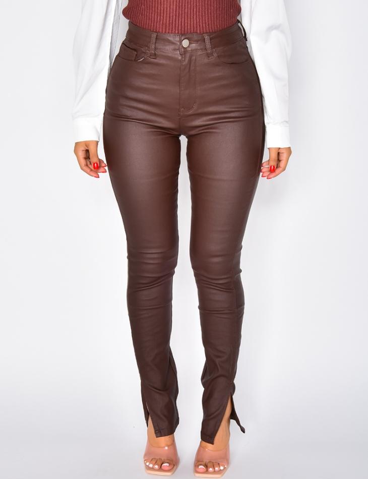 Jeans slim huilé taille haute à fente