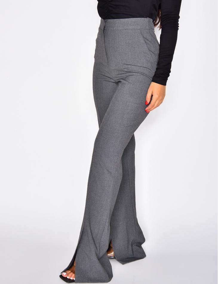 Pantalon de tailleur coupe droite à fentes