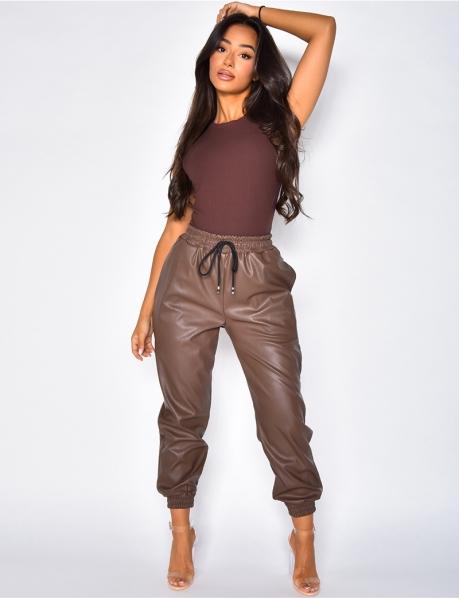 Pantalon en cuir PU