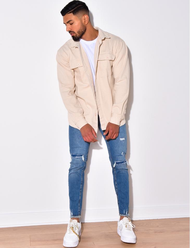 Chemise en jeans à poches