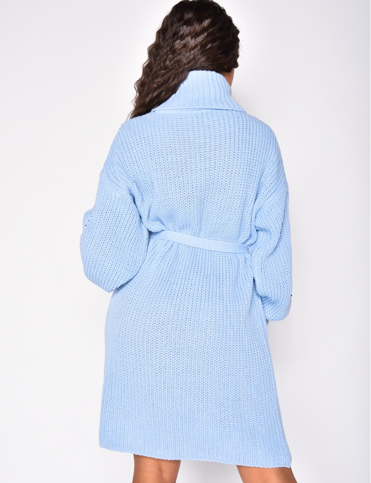 Robe pull à nouer à col roulé