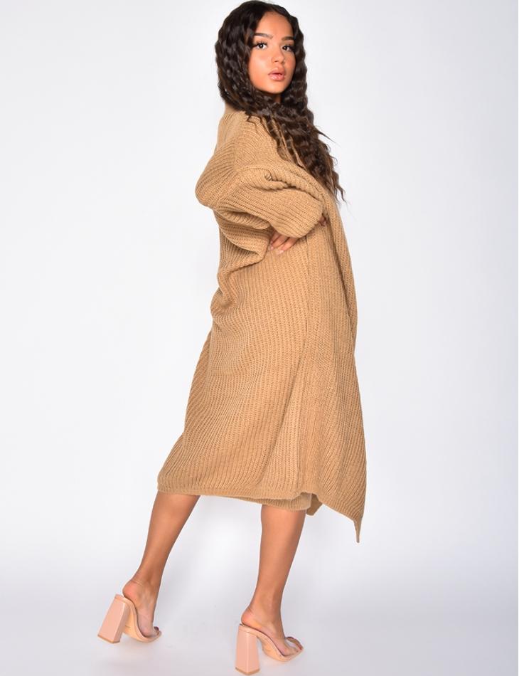 Ensemble gilet et robe pull sans maches oversize