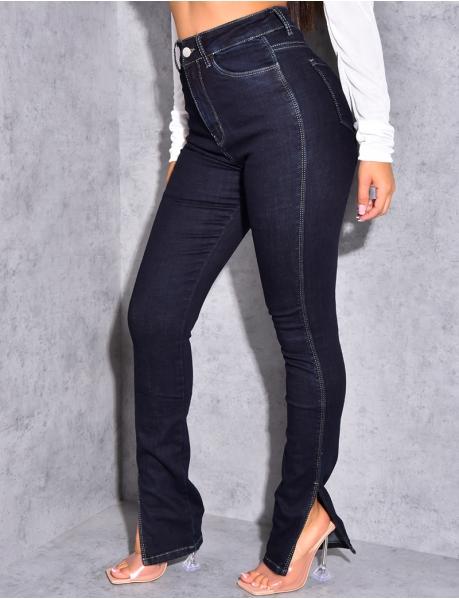 Jeans taille haute à fente