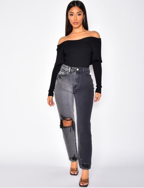 Jeans destroy bi-color à coupe droite