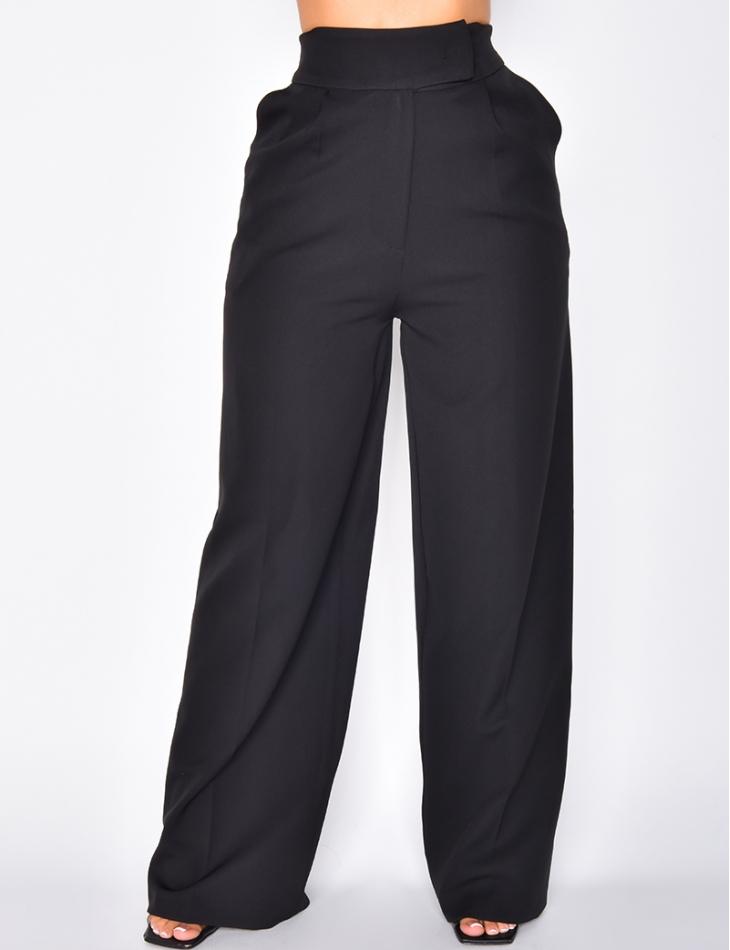 Pantalon à pinces coupe droite noir