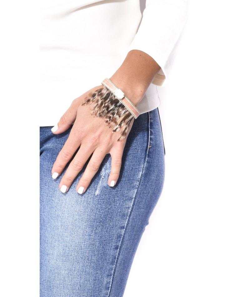Bracelet à plumes & pierre