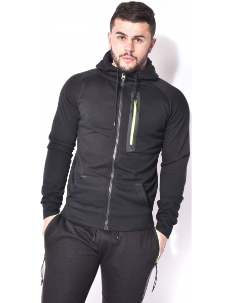 Fleece Sweatshirt with Hood and Fluorescent Zips