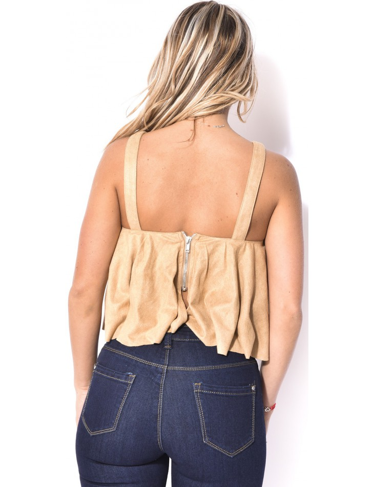 Suedette Lace Up Crop Top