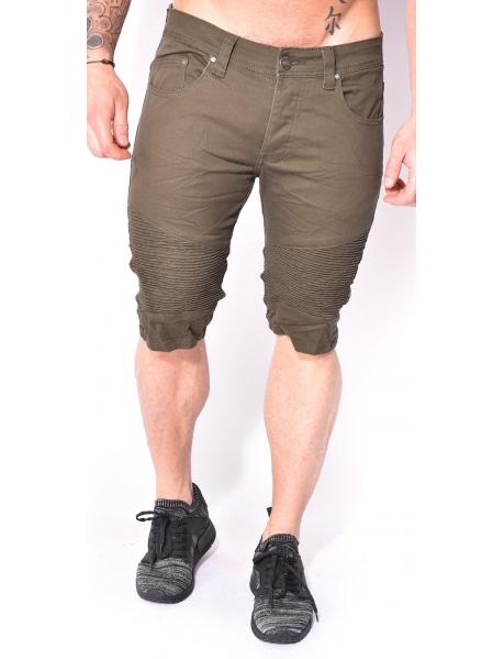 Biker-style Khaki Bermuda Shorts
